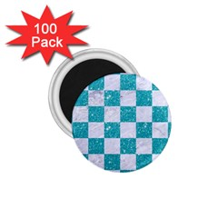 Square1 White Marble & Turquoise Glitter 1 75  Magnets (100 Pack)  by trendistuff