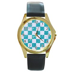 Square1 White Marble & Turquoise Glitter Round Gold Metal Watch by trendistuff
