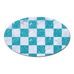 Square1 White Marble & Turquoise Glitter Oval Magnet by trendistuff