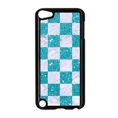 Square1 White Marble & Turquoise Glitter Apple Ipod Touch 5 Case (black) by trendistuff