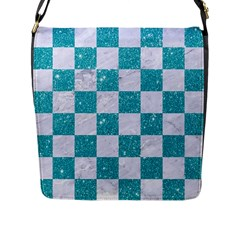 Square1 White Marble & Turquoise Glitter Flap Messenger Bag (l)  by trendistuff