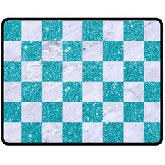 Square1 White Marble & Turquoise Glitter Double Sided Fleece Blanket (medium)  by trendistuff