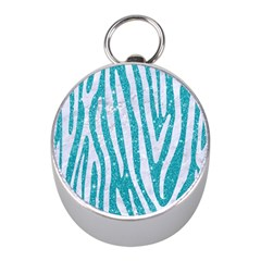 Skin4 White Marble & Turquoise Glitter (r) Mini Silver Compasses by trendistuff
