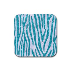 Skin4 White Marble & Turquoise Glitter Rubber Square Coaster (4 Pack)  by trendistuff