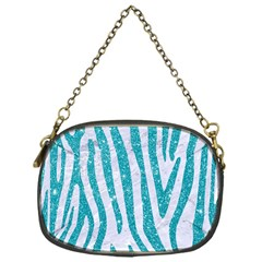 Skin4 White Marble & Turquoise Glitter Chain Purses (one Side)  by trendistuff