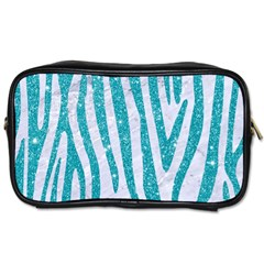 Skin4 White Marble & Turquoise Glitter Toiletries Bags 2 Side by trendistuff