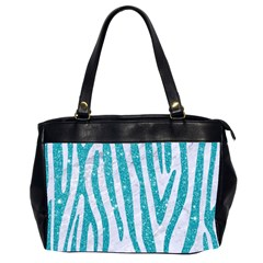 Skin4 White Marble & Turquoise Glitter Office Handbags (2 Sides)  by trendistuff