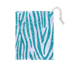 Skin4 White Marble & Turquoise Glitter Drawstring Pouches (large)  by trendistuff