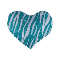 Skin3 White Marble & Turquoise Glitter Standard 16  Premium Flano Heart Shape Cushions