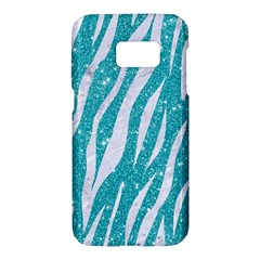 Skin3 White Marble & Turquoise Glitter Samsung Galaxy S7 Hardshell Case  by trendistuff