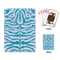 Skin2 White Marble & Turquoise Glitter (r) Playing Card by trendistuff