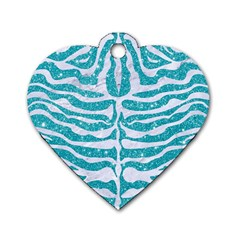 Skin2 White Marble & Turquoise Glitter Dog Tag Heart (two Sides) by trendistuff