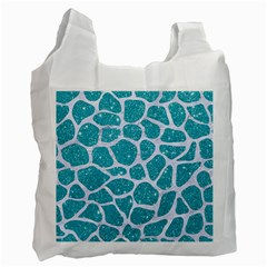 Skin1 White Marble & Turquoise Glitter (r) Recycle Bag (two Side)  by trendistuff