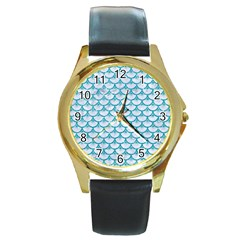Scales3 White Marble & Turquoise Glitter (r) Round Gold Metal Watch by trendistuff
