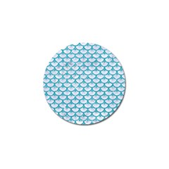 Scales3 White Marble & Turquoise Glitter (r) Golf Ball Marker by trendistuff