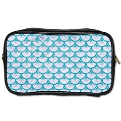 Scales3 White Marble & Turquoise Glitter (r) Toiletries Bags 2 Side by trendistuff