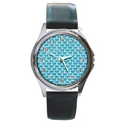 Scales3 White Marble & Turquoise Glitter Round Metal Watch by trendistuff