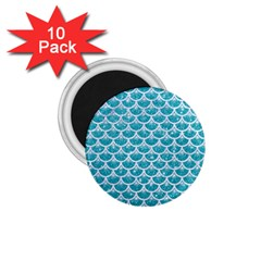 Scales3 White Marble & Turquoise Glitter 1 75  Magnets (10 Pack)  by trendistuff