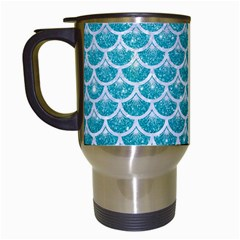 Scales3 White Marble & Turquoise Glitter Travel Mugs (white) by trendistuff