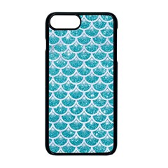 Scales3 White Marble & Turquoise Glitter Apple Iphone 8 Plus Seamless Case (black)