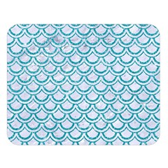 Scales2 White Marble & Turquoise Glitter (r) Double Sided Flano Blanket (large)  by trendistuff