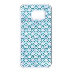 Scales2 White Marble & Turquoise Glitter (r) Samsung Galaxy S7 White Seamless Case by trendistuff