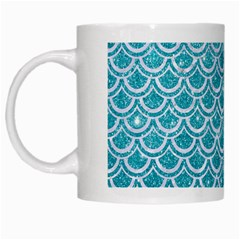 Scales2 White Marble & Turquoise Glitter White Mugs by trendistuff