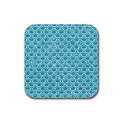 Scales2 White Marble & Turquoise Glitter Rubber Square Coaster (4 Pack)  by trendistuff