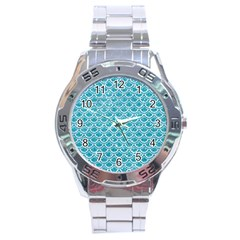 Scales2 White Marble & Turquoise Glitter Stainless Steel Analogue Watch by trendistuff