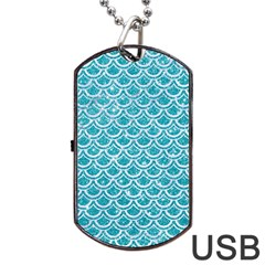 Scales2 White Marble & Turquoise Glitter Dog Tag Usb Flash (two Sides) by trendistuff
