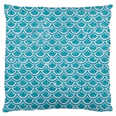 Scales2 White Marble & Turquoise Glitter Large Cushion Case (one Side) by trendistuff