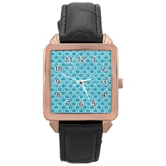 Scales2 White Marble & Turquoise Glitter Rose Gold Leather Watch  by trendistuff