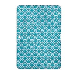 Scales2 White Marble & Turquoise Glitter Samsung Galaxy Tab 2 (10 1 ) P5100 Hardshell Case  by trendistuff