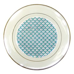 Scales1 White Marble & Turquoise Glitter (r) Porcelain Plates by trendistuff