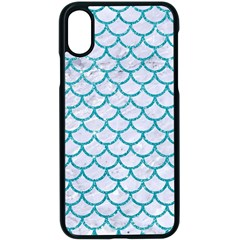 Scales1 White Marble & Turquoise Glitter (r) Apple Iphone X Seamless Case (black)