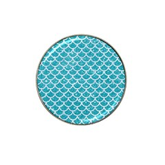 Scales1 White Marble & Turquoise Glitter Hat Clip Ball Marker by trendistuff