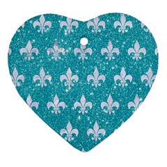 Royal1 White Marble & Turquoise Glitter (r) Heart Ornament (two Sides) by trendistuff