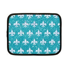 Royal1 White Marble & Turquoise Glitter (r) Netbook Case (small)