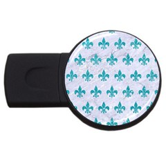 Royal1 White Marble & Turquoise Glitter Usb Flash Drive Round (4 Gb) by trendistuff