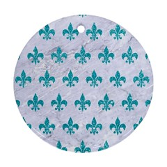 Royal1 White Marble & Turquoise Glitter Round Ornament (two Sides) by trendistuff