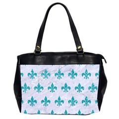 Royal1 White Marble & Turquoise Glitter Office Handbags (2 Sides)  by trendistuff
