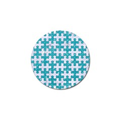 Puzzle1 White Marble & Turquoise Glitter Golf Ball Marker by trendistuff