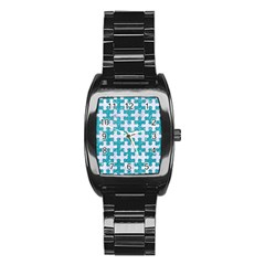Puzzle1 White Marble & Turquoise Glitter Stainless Steel Barrel Watch by trendistuff