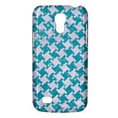 Houndstooth2 White Marble & Turquoise Glitter Galaxy S4 Mini by trendistuff