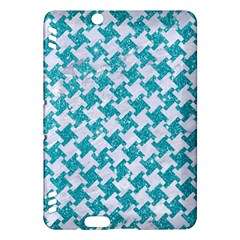 Houndstooth2 White Marble & Turquoise Glitter Kindle Fire Hdx Hardshell Case by trendistuff