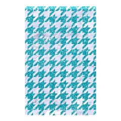 Houndstooth1 White Marble & Turquoise Glitter Shower Curtain 48  X 72  (small)  by trendistuff
