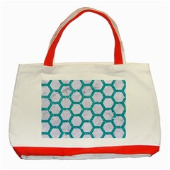 Hexagon2 White Marble & Turquoise Glitter (r) Classic Tote Bag (red) by trendistuff