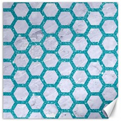 Hexagon2 White Marble & Turquoise Glitter (r) Canvas 20  X 20