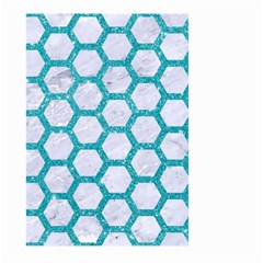 Hexagon2 White Marble & Turquoise Glitter (r) Large Garden Flag (two Sides) by trendistuff