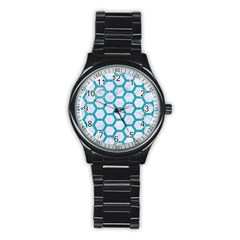Hexagon2 White Marble & Turquoise Glitter (r) Stainless Steel Round Watch